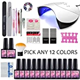 Choose Any 12 Colors Gels Nail Starter Kit Gel Polish 36W UV Lamp...