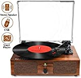 Vinyl Record Player Bluetooth Turntable with Built-in Speakers...