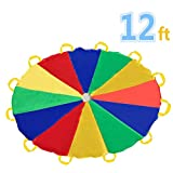 Sonyabecca Play Tents Kids Game 210T Play Parachute 12' with 12...