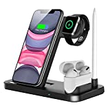 Wireless Charger, QI-EU 4 in 1 Qi-Certified Fast Charging Station...