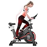Indoor Exercise Bike with Tablet Stand, Silent Spinning Bike for...
