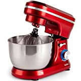 VonShef Red Food Mixer - 8 Speed 1000W Stand Mixer with 3.2L...