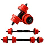 CCLIFE 2 in 1 Dumbbell & Barbell Set, Cast Iron Dumbbell Set with...