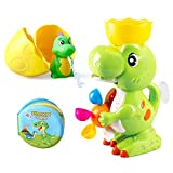 BeebeeRun Baby Bath Toy Dinosaur Bathroom Toy with Dino Bath Book...