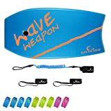 OWN THE WAVE 41'' Green Yellow Bodyboard - with Coiled Leash and...