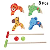STOBOK Kids Mini Croquet Toy Set Cartoon Golf Game Golf Clubs...