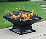 Fire Pit Table Top Square Steel Patio Garden Heater Outdoor BBQ...