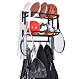 SOUL HAND Wall Mounted 2 Tiers Adjustable Sports Ball Rack...