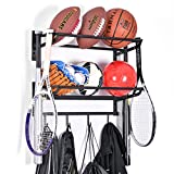 Wall Mounted 2 Tiers Adjustable Sports Ball Rack Storage Gear...
