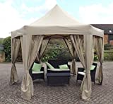 HORWOOD GARDEN METAL FRAME POP UP FOLDING HEXAGONAL GAZEBO BEIGE...