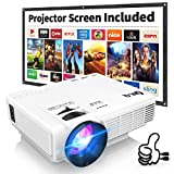 DR.Q HI-04 Projector with Projection Screen 1080P Full HD...