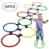 Hopscotch Ring Game Toys 10 Multi-Colored Plastic Rings And 9...