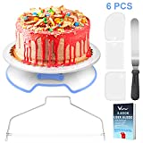 WisFox Cake Turntable Revolving Lockable Cake Stand Cake Plate...