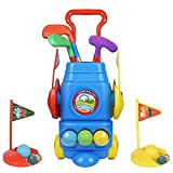 ToyVelt Kids Golf Club Set – Golf CartWith Wheels, 3 Colorful...