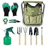 GOOD GAIN Garden Tools Stool, 12 pcs Gardening Hand Tools Set...