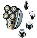 Electric Head Shaver Razor for Bald Men Gold Grooming Kit 5 in 1...