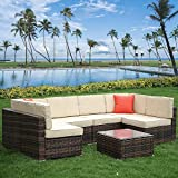 bigzzia 6 Seater Garden Furniture Set, Patio Rattan Dining Table...