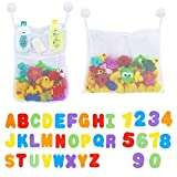 2 x Mesh Baby Bath Toy Storage + 36 Bath Toys Letters and Numbers...