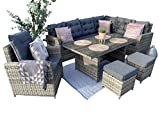 SORRENTO Rattan 8 Seater Corner Sofa Set with Dining Table...