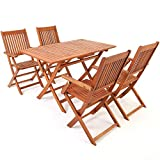 Deuba Wooden Garden Dining Table and Chairs Set FSC®-Certified...