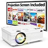 QKK AK-81 Projector With Projection Screen 1080P Full HD...