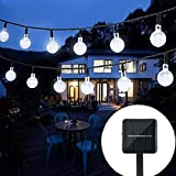 Solar String Lights Garden, 24 Ft 30 Waterproof Crystal Ball LED...