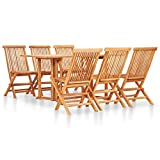7 Piece Solid Teak Wood Outdoor Dining Table and Chair Set...