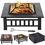 Yaheetech 3 in 1 Outdoor Fire Pit - Metal Brazier Square Table...
