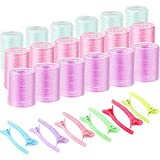 18 Pieces Self Grip Hair Rollers Clips Self Holding Rollers Salon...