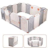 Baby Playpen 16 Panel Foldable Activity Center Safety Playard...