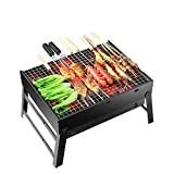 Barbecue Grill Portable Foldable Charcoal Stainless Steel Smoker...