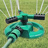 Amlion Garden Sprinkler,3 Nozzles Lawn Sprinklers, 360°Automatic...