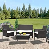 Panana Rattan Garden Furniture 4 Piece Set Table Sofa Chair Patio...