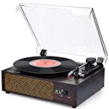 Vinyl Record Player Bluetooth Turntable with Built in Stereo...
