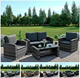 Abreo Grey 4 Seater Garden Rattan Furniture Sofa Armchair Set...