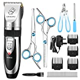 OMORC Dog Clippers, Cordless Pet Clippers Low Noise Dog Hair...
