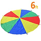 Sonyabecca Play Tents Kids Game 210T Play Parachute 6' with 9...