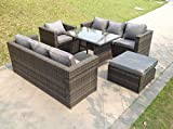 Fimous 8 Seater Lounge Rattan Sofa Dining Set Table Chair Ottoman...