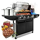 Campfire 4+1 Gas Burner Grill BBQ Barbecue with Side Burner &...