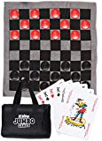 Elite Sportz Jumbo Checkers Rug Game, Large Playing Cards and Tic...