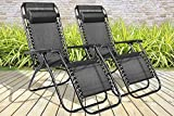 BARGAINS-GALORE SET OF 2 RECLINING SUN LOUNGER OUTDOOR GARDEN...