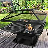BARGAINS-GALORE SQUARE FIRE PIT BBQ GRILL HEATER OUTDOOR GARDEN...
